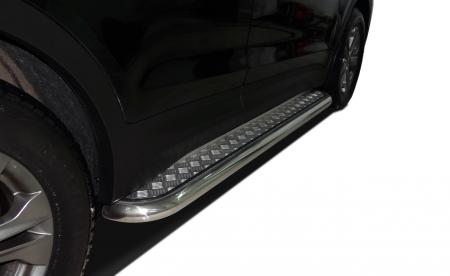 Защита заднего бампера Hyundai SantaFe 2012 двойная (радиус)  60/42